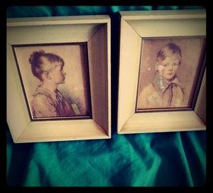 "2 Vintage Child Portraits "" Peter & Charlotte"""